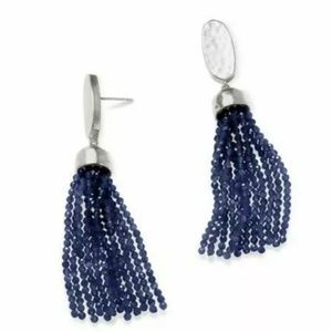 "Kendra Scott ""Marin"" Silver/Blue Tassel Earrings"